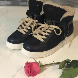 New! Coach Womens High Top Wedged Sneaker
